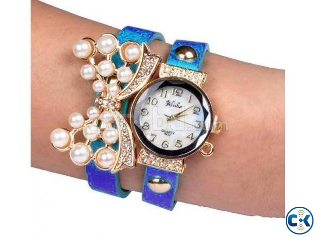 Double Leather Belt Butterfly Watch Royal Blu | ClickBD large image 0