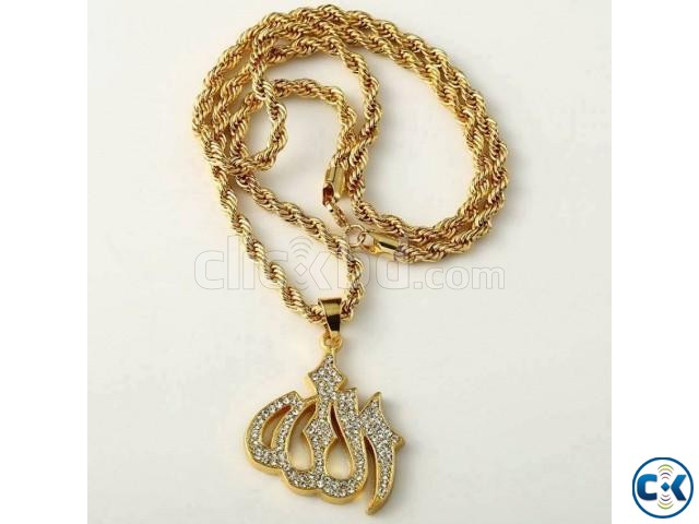 Allah Hoo Women s Golden Colour Necklace | ClickBD large image 0