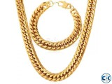 Gold Plated Chain Necklace Bracelet Set Fashion Men Jewelry