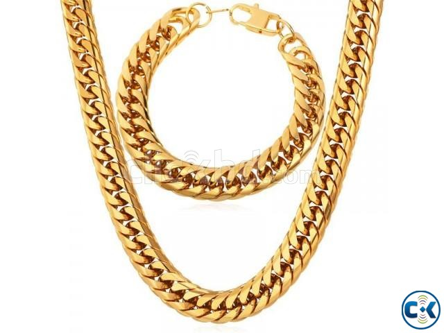 Gold Plated Chain Necklace Bracelet Set Fashion Men Jewelry | ClickBD large image 0