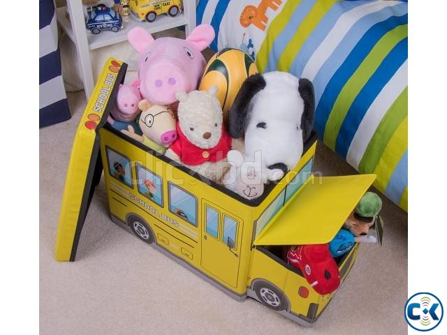 School Bus Toys Storage Box Seat 3-in-1 Kids Gift | ClickBD large image 2
