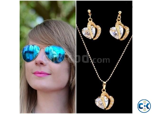 Ray-Ban Aviator Men s woman Sunglasses Gold Plated Crystal | ClickBD large image 0