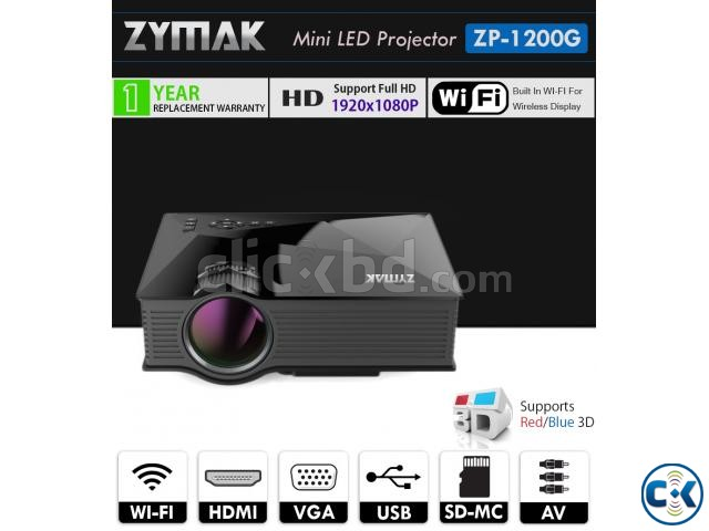 Multimedia Projector Zymak ZP1200G WiFi Projector 3D HD LED | ClickBD large image 0