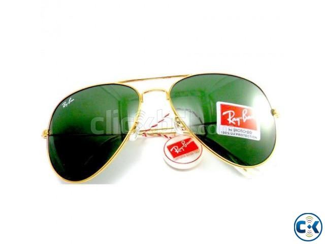 Golden Frame Forest Blue Shade Ray-Ban Sunglasses. | ClickBD large image 0