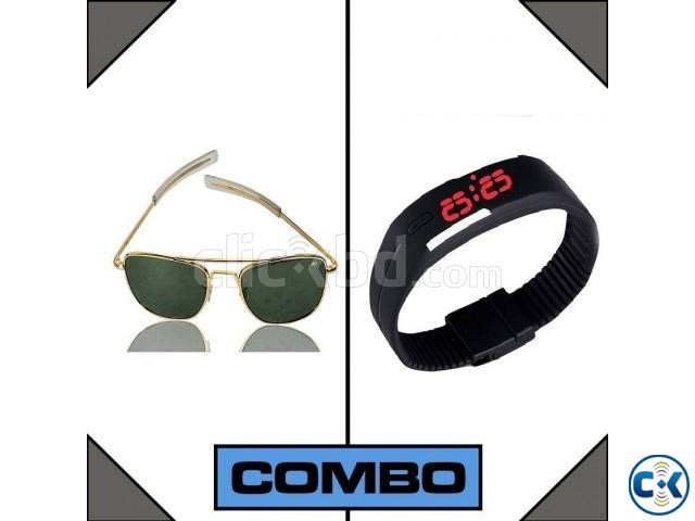 LED Watch and AO Men s Sunglasses Combo | ClickBD large image 0