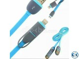 2 in 1 USB Charger Data Cable for Dual Android and Apple