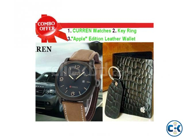 Apple Genuine Leather Wallet Curren Men s Wrist Watch combo | ClickBD large image 0