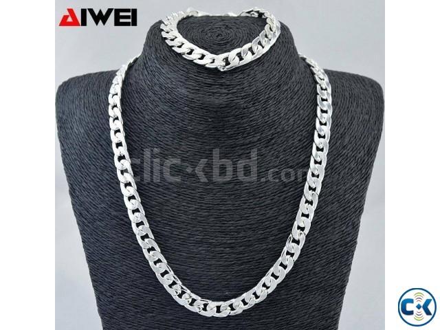 Real 9k Silver Chains- filled Men s Bracelet necklace 21.5 | ClickBD large image 0