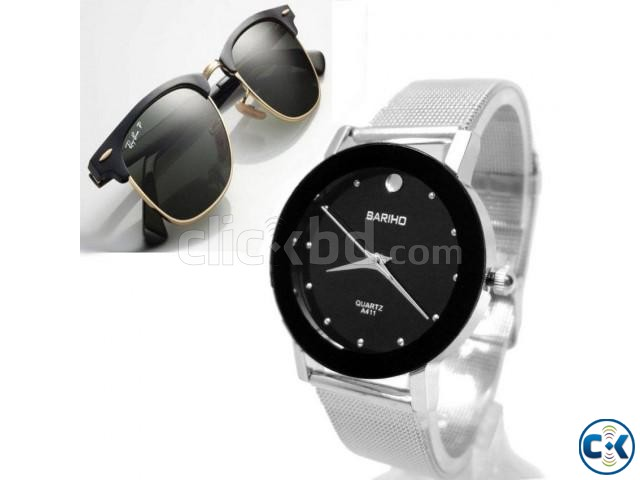 Pack of 2 Men s Bariho Watch Ray Ban Sunglasses | ClickBD large image 0