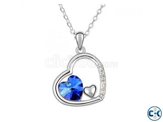 Heart Shaped Blue Stone Pendant | ClickBD large image 0