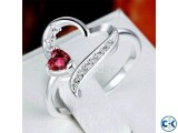 Red Heart Stone Ring for Women