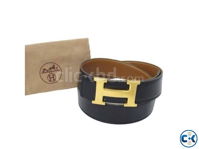 H Buckle Leather Belt - Black | ClickBD large image 0