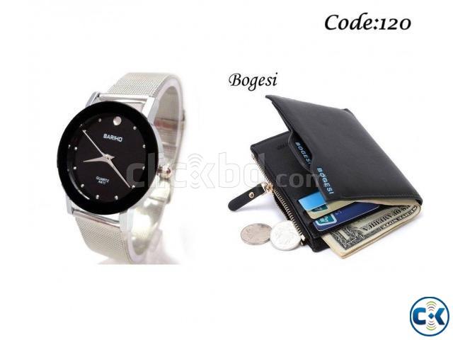 Combo Offer - Bariho men s Wrist Watch Men s Wallet | ClickBD large image 1