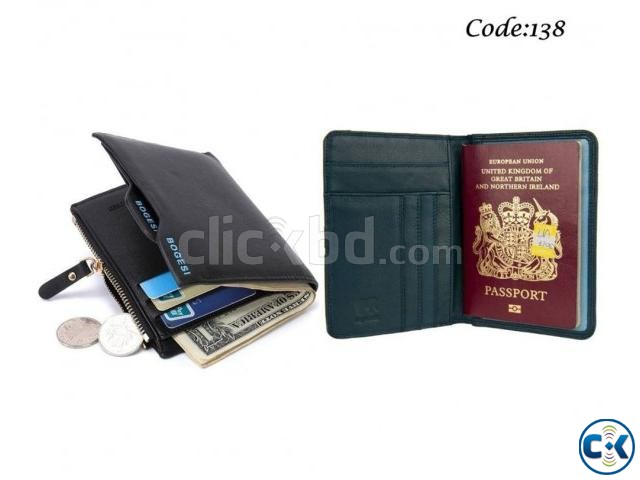 Bogesi Leather Black Men s Wallet Leather Passport Cover Hol | ClickBD large image 0