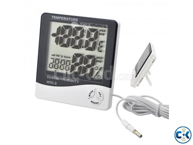 HTC 2 Digital Temperature Thermometer Humidity Meter Clock | ClickBD large image 0
