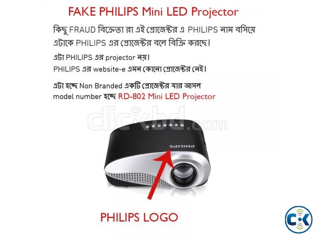 Fake PHILIPS Projector RD802 Mini LED Projector | ClickBD large image 0