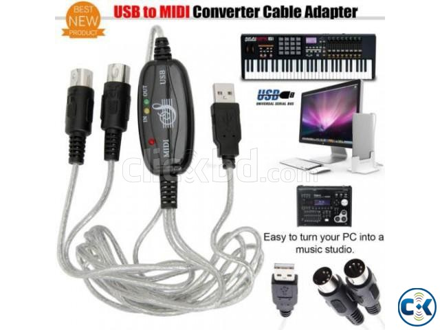 Midi To USB Cable for Keyboard Others NEW  | ClickBD large image 1