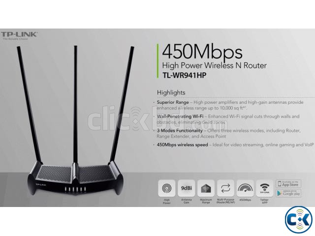 TP-LINK TL-WR941HP 450Mbps High Power Wireless N Router | ClickBD large image 0