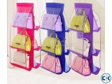 6 POCKET HANGING HANDBAG STORAGE ORGANIZER