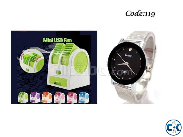 Combo Offer - USB mini Air Cooler Bariho Women s Wrist Watch | ClickBD large image 0