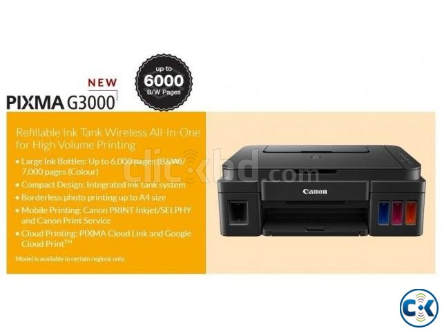Canon Pixma G3000 All in One Wireless Ink Tank Printer  | ClickBD large image 0