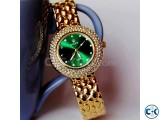 Rolex Green Diamond Stone Ladies Dialer