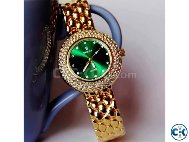 Rolex Green Diamond Stone Ladies Dialer | ClickBD large image 0