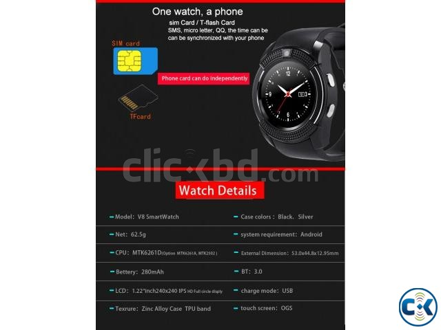 Smart Watch V8 | ClickBD large image 2