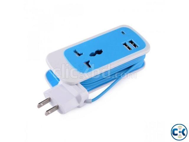 3 In 1 Dual USB Port Universal Socket | ClickBD large image 0