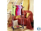 Double Stand Adjustable Garment Cloth Rack-