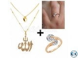 Combo Twin Zircon Finger Rings Stone Crafted Necklace