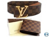 LV Leather Wallet for Men Louis Vuitton Damier Ebene Belt co