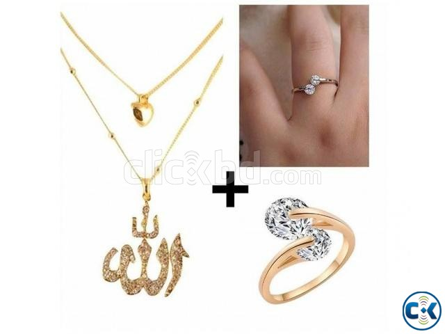 Combo Twin Zircon Finger Rings Stone Crafted Necklace | ClickBD large image 0