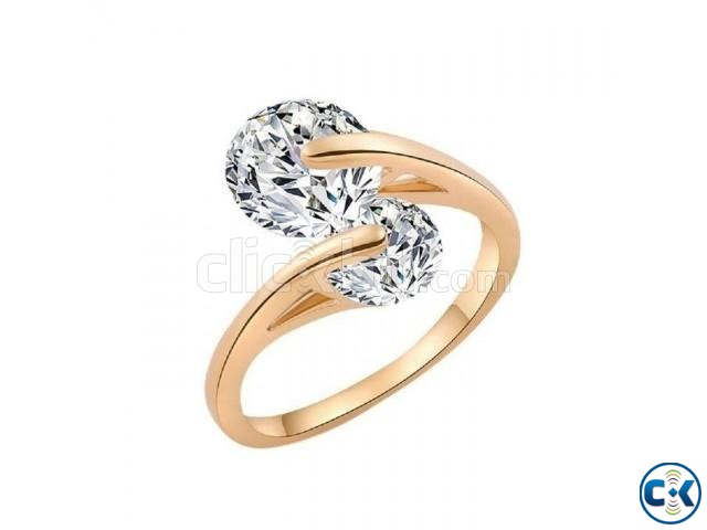 Rose Gold Plated hion Design Twin Zircon CZ | ClickBD large image 0