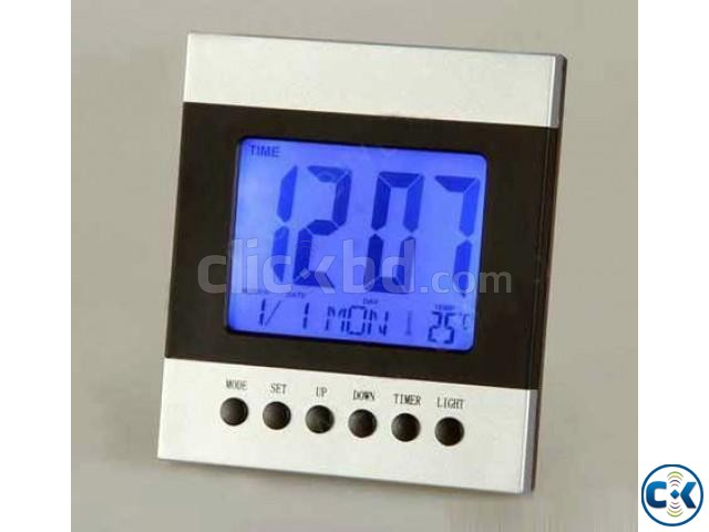Voice Control Temperature Led Alarm clock Digital Calender | ClickBD large image 0