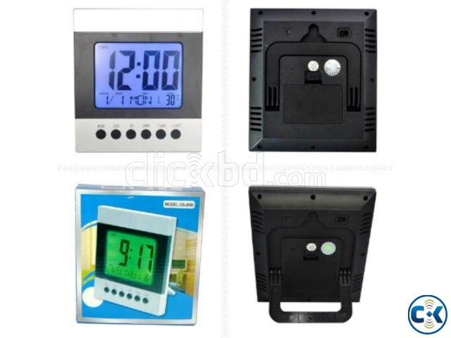 Voice Control Temperature Led Alarm clock Digital Calender | ClickBD large image 2