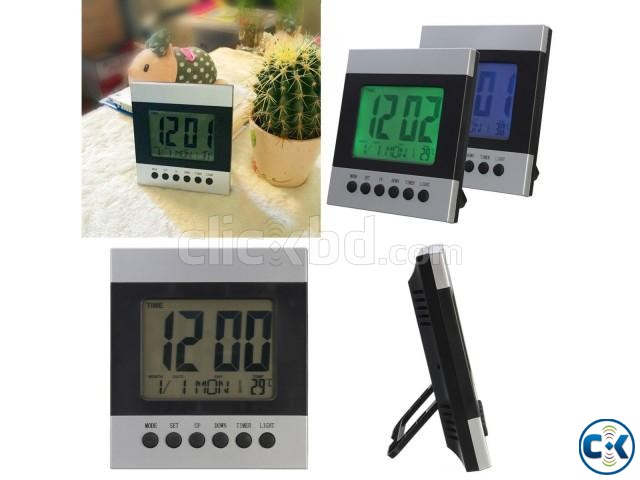 Voice Control Temperature Led Alarm clock Digital Calender | ClickBD large image 3