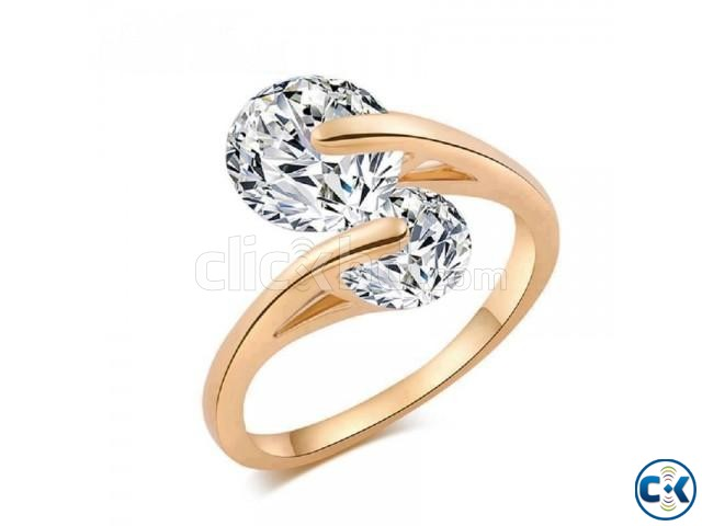 Rose Gold Plated Fashion Design Twin Zircon CZ Diamond Engag | ClickBD large image 0