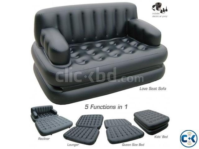 5 in 1 Inflatable Double Air Bed Sofa cum Chair | ClickBD large image 0