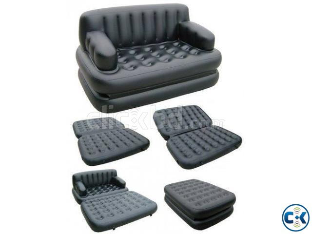 5 in 1 Inflatable Double Air Bed Sofa cum Chair | ClickBD large image 1