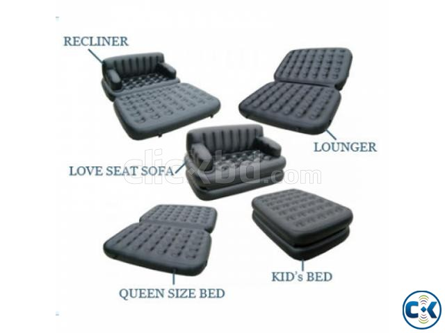 5 in 1 Inflatable Double Air Bed Sofa cum Chair | ClickBD large image 3