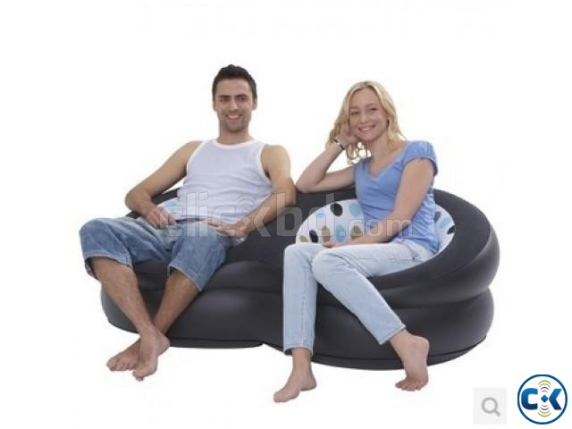 Inflatable Double Round Air Sofa | ClickBD large image 1