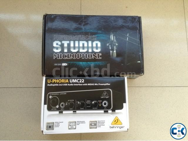 Condenser Microphone And Sound Card Studio Package | ClickBD large image 0