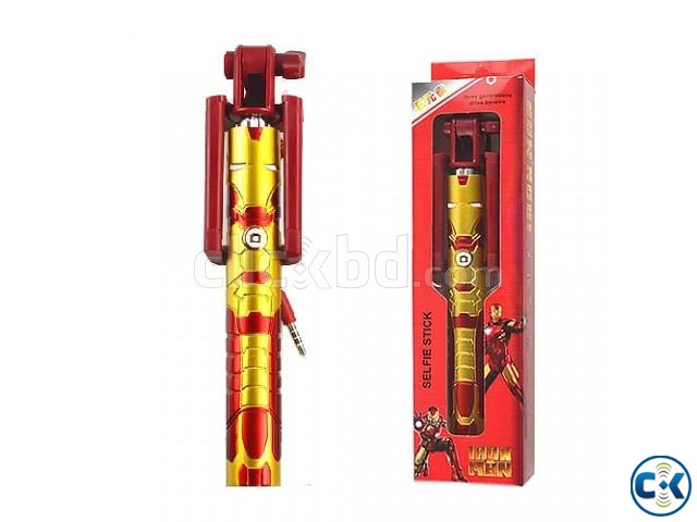 Extendable Selfie Stick Selfi Monopod Wired Marvel Iron Man | ClickBD large image 0