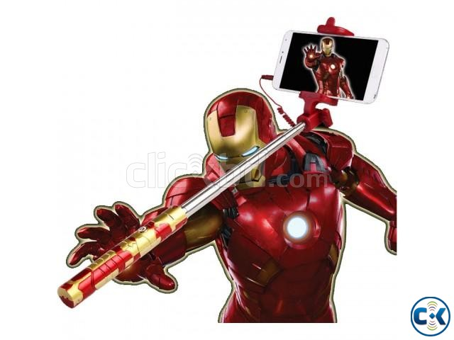 Extendable Selfie Stick Selfi Monopod Wired Marvel Iron Man | ClickBD large image 1