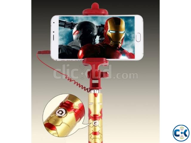 Extendable Selfie Stick Selfi Monopod Wired Marvel Iron Man | ClickBD large image 2