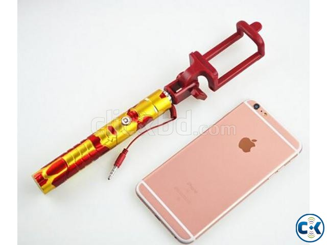 Extendable Selfie Stick Selfi Monopod Wired Marvel Iron Man | ClickBD large image 3