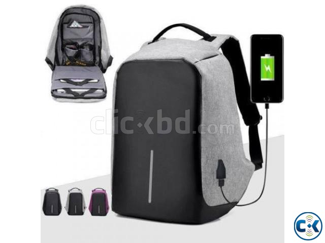 Anti-theft Backpack With USB Charge Port -Ash Color | ClickBD large image 0