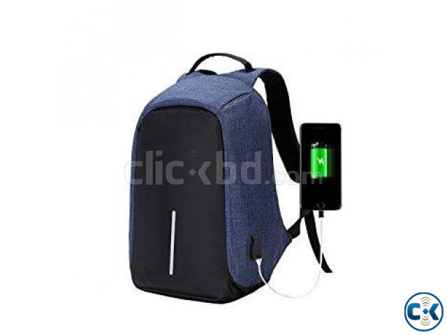 Anti-theft Backpack With USB Charge Port Jeans Color | ClickBD large image 0
