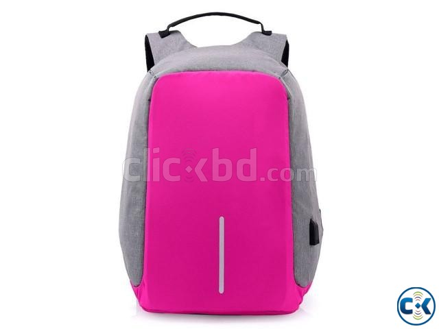 Anti-theft Backpack With USB Charge Port Pink Color | ClickBD large image 0